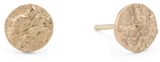 Made In Italy Gold Plated Sterling Silver Disc Post Earrings