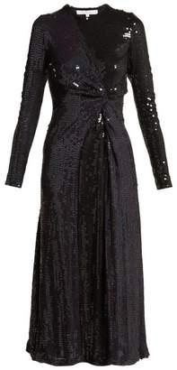 2c1529b4eb Galvan Pinwheel Sequined Silk Dress - Womens - Navy Multi