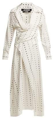Jacquemus La Tunique Badii Polka Dot Fil Coupe Cotton Dress - Womens - White Multi
