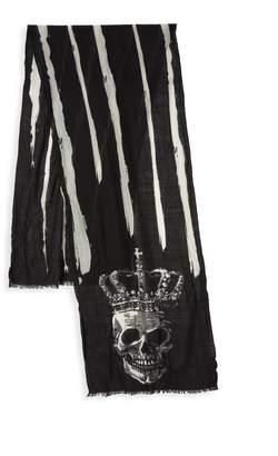 John Varvatos Striped Skull Print Wool Scarf