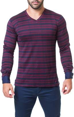Maceoo Trim Fit Stripe Check V-Neck T-Shirt