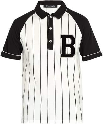 Balmain Striped cotton-piqué polo shirt