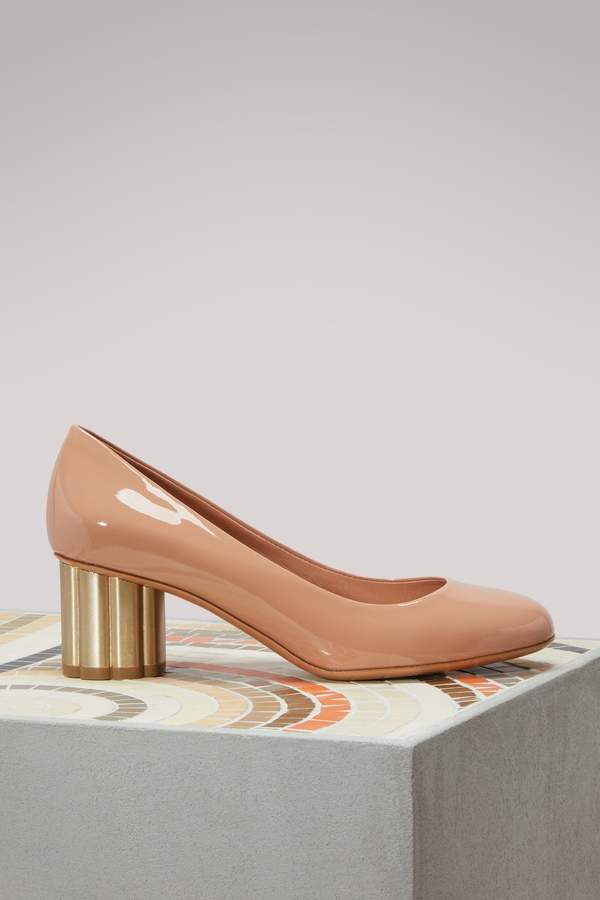 Salvatore Ferragamo Lucca mid-heels patent leather pumps