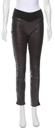 Diane von Furstenberg Mid-Rise Leather Pants