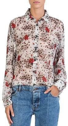 The Kooples Silk Flying Flowers Printed Shirt