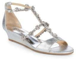 Badgley Mischka Terry II Embellished Wedge Sandals