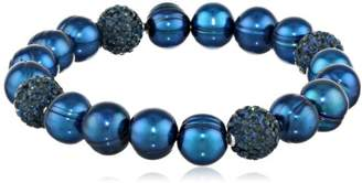 Honora Pop Star Freshwater Cultured Pearl and Pave Bead Stretch Bracelet
