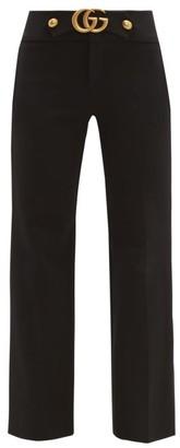 Gucci Gg Logo Kick Flare Trousers - Womens - Black