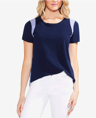 Vince Camuto Striped Inset Top