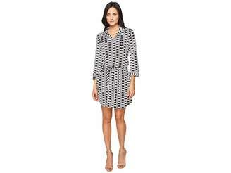 Laundry by Shelli Segal 3/4 Sleeve Printed Shirtdress w/ Patch Pockets Women's Dress