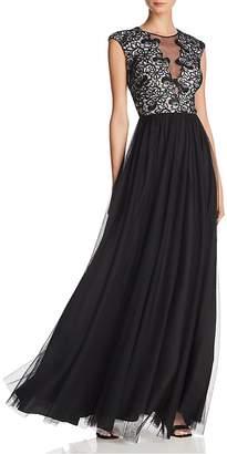 Aidan Mattox Lace-Bodice Gown