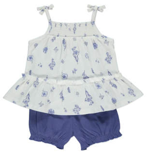 George Blue Floral Frill Cami Top and Shorts Outfit