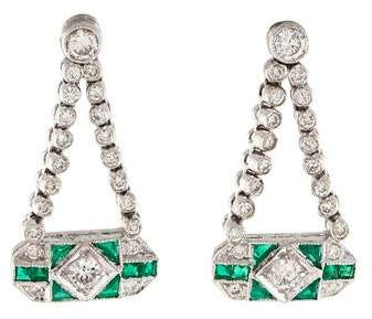 181K Diamond & Emerald Drop Earrings