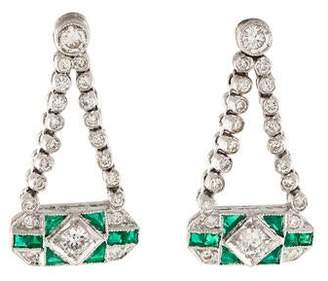 181K Diamond & Emerald Drop Earrings