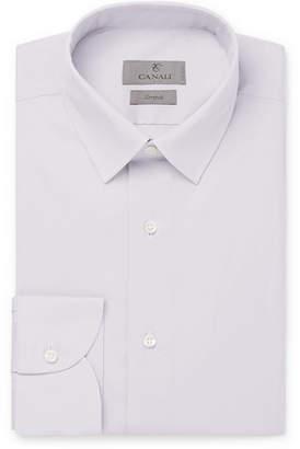 Light-Grey Slim-Fit Stretch Cotton-Blend Poplin Shirt