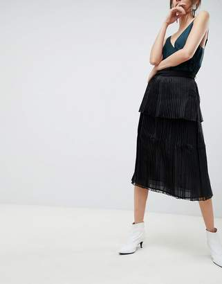 Asos Pleated Midi Skirt in Organza