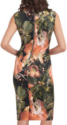 Label By 5twelve Gathered-Keyhole Floral-Print Midi Dress