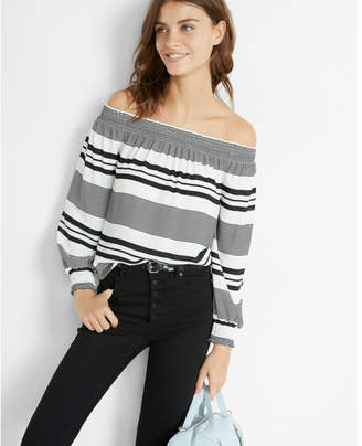 Express striped smocked off the shoulder long sleeve blouse $49.90 thestylecure.com