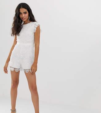 370ebc13099 Miss Selfridge lace playsuit in white