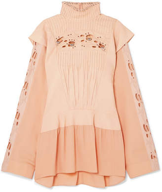 Chloé Embellished Pintucked Broderie Anglaise Linen And Cady Blouse - Peach