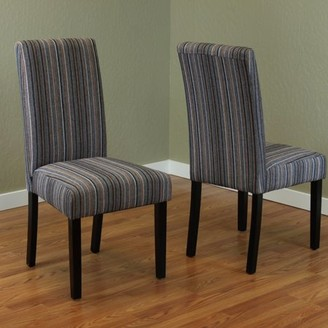 Monsoon Pacific Seville Grey/Orange Stripe Fabric Dining Chairs (Set of 2)