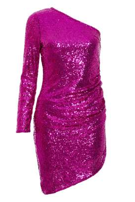 Quiz Magenta Sequin Asymmetrical Bodycon Dress