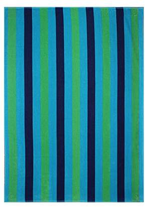 Ringspun Cotton Craft Oversized Jacquard Double Woven Velour Beach Towel 39x68 - Cabana Stripe Navy Green Turquoise - Highly absorbent - 450 grams per square meter 100% Pure Cotton