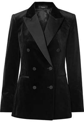 Theory Double-breasted Satin-trimmed Cotton-velvet Blazer - Black