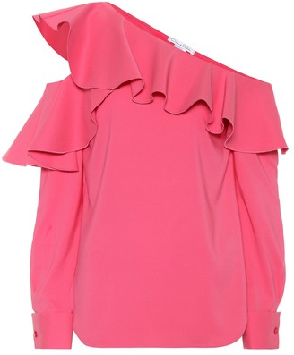 Oscar de la Renta One-shoulder silk-blend blouse