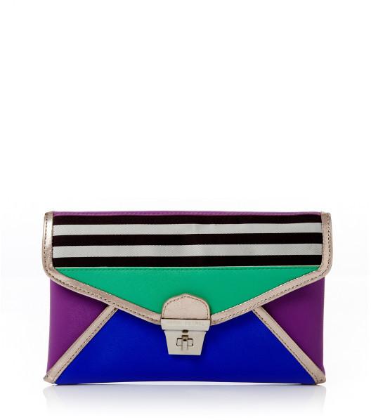 Henri Bendel Brown & White Plus Deco Stripe Clutch