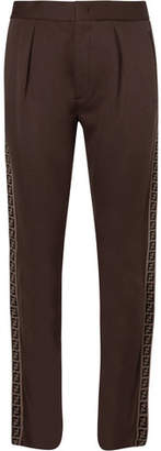 Fendi Logo-Trimmed Cotton-Blend Jersey Trousers