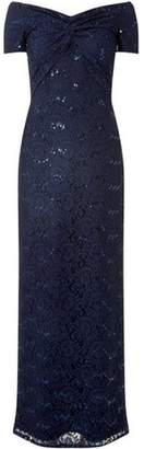 Dorothy Perkins Womens **Scarlett B Navy Bardot Lace Maxi Dress