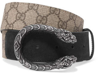Gucci Dionysus Printed Coated-canvas And Suede Belt - Beige