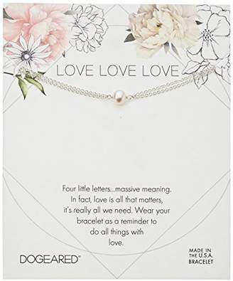 Dogeared Love Small Button White Pearl Bracelet