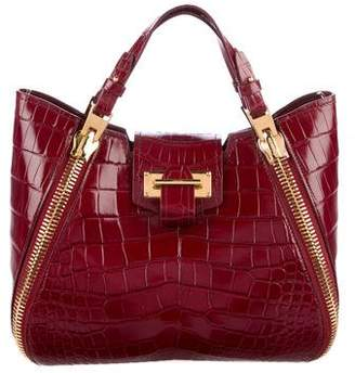 Tom Ford Alligator Sedgwick Double Zip Satchel
