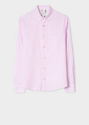 Paul Smith Men's Tailored-Fit Pink And White Stripe Cotton 'People' Print Cuff Oxford Shirt
