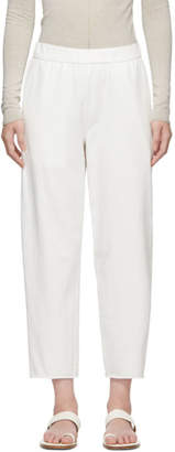 Raquel Allegra White Jersey Tailoring Ankle Lounge Pants