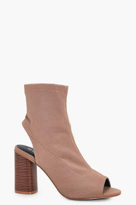 boohoo Wide Fit Peeptoe Sock Boots