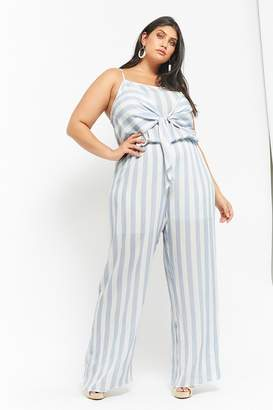 fbd2024ba311b Forever 21 Plus Size Striped Tie-Front Jumpsuit
