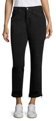 J Brand Ivy High-Rise Released Hem Cropped Straight-Leg Jeans/Double Cross