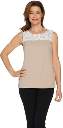 Dennis Basso Caviar Crepe Knit Sleeveless Top with Lace Trim