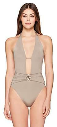 Trina Turk Women's V-Front Keyhole Halter One Piece Swimsuit