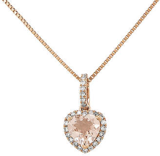 FINE JEWELRY Heart-Shaped Genuine Morganite and 1/7 CT. T.W. Diamond 14K Rose Gold Pendant Necklace