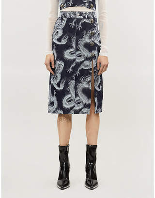 Leo Pele graphic-pattern denim midi skirt