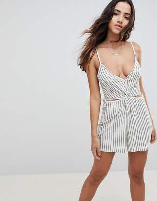 Asos Design DESIGN Playsuit With Cut Out In Textured Stripe