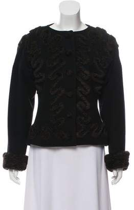 Fendi Wool Faux Fur Trim Blazer