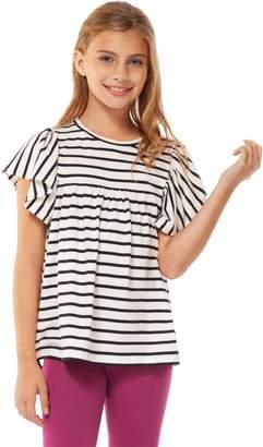 Dex Striped Flutter-Sleeve Top