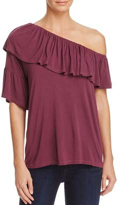 Paige Pax Ruffled One-Shoulder Top