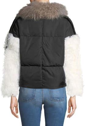 Adrienne Landau Lamb Shearling Trim Puffer Jacket