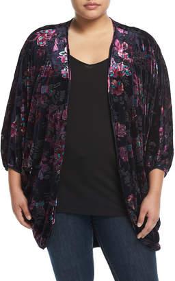 Chelsea & Theodore Plus Floral-Print Velvet Cocoon Cardigan, Plus Size